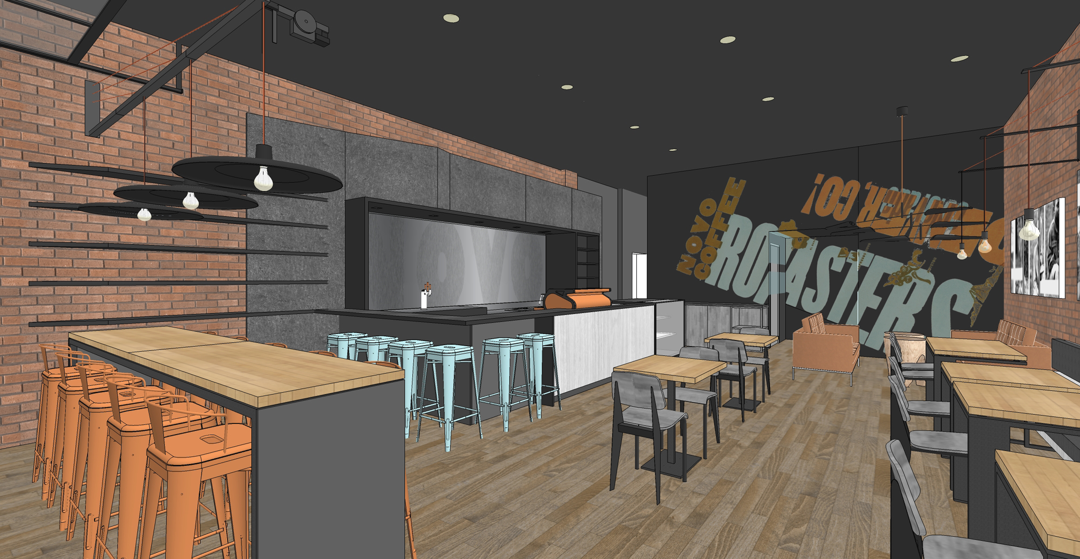 Novo Coffee shop 6th & Gilpin Concept view from entrance open studio architecture OSA