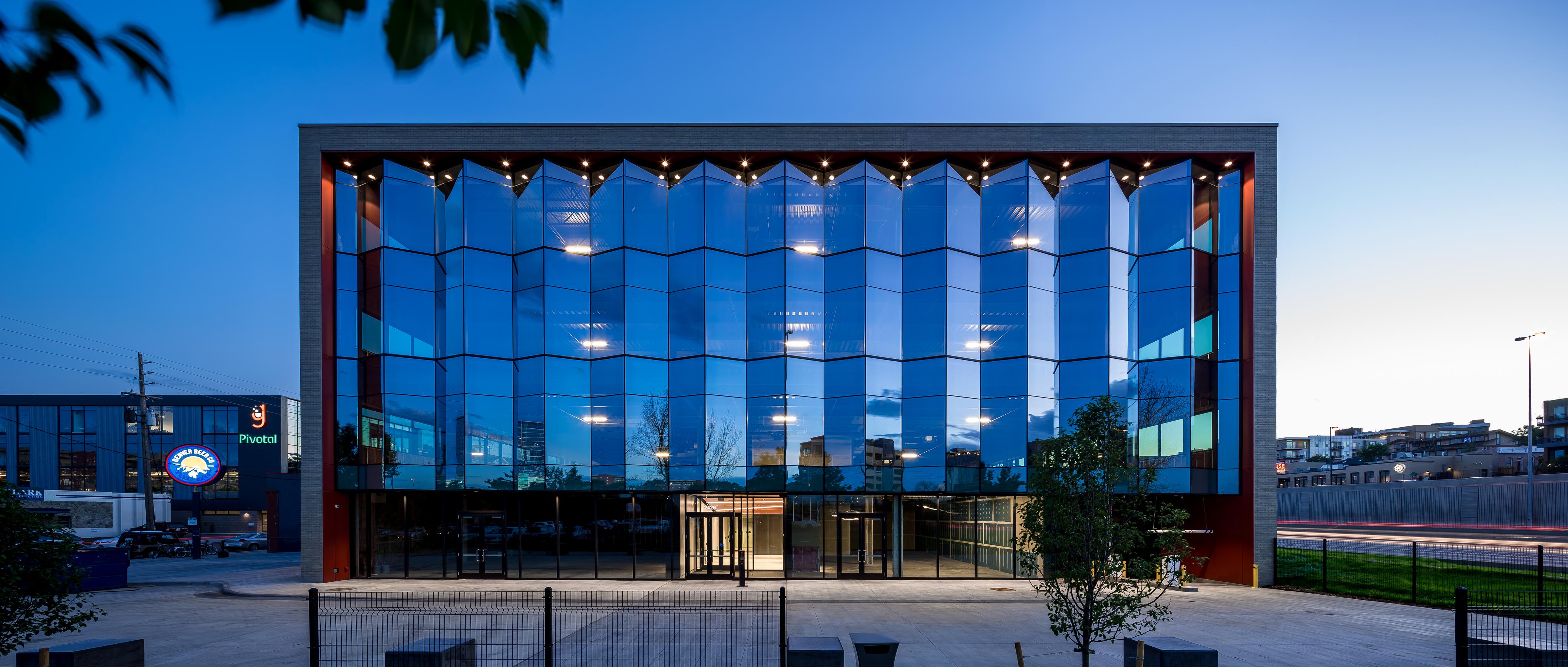 004 open studio architecture The Lab folding curtainwall night OSA