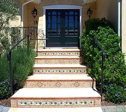 curb appeal, mosaics, marble, tile, black doors, entry