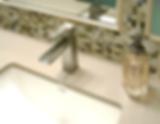 bathroom remodel, faucet, quartz top, mirror, mosaic, stone