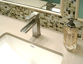 bathroom remodel, faucet, quartz top, mirror, mosaic, stone