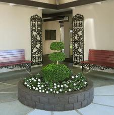 exteriors, Mediterranean, benches, plants
