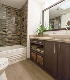 mosaic glass, glass tile, shower, tub, bamboo, custom vanity, quartz top