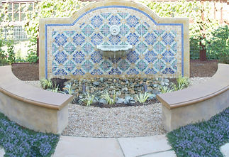 fountain, tile, landscape, award-winning, curb appeal, backyard