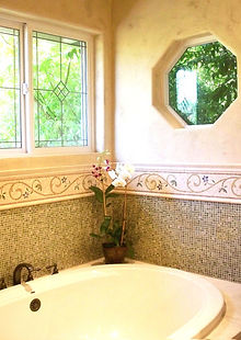 stone, tile, mosaics, windows, tub, limestone