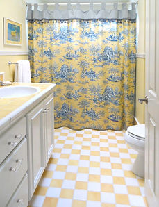 French country, bathroom, white vanity, tile, shower curtain