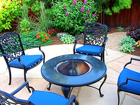 backyard landscape, patio, plants