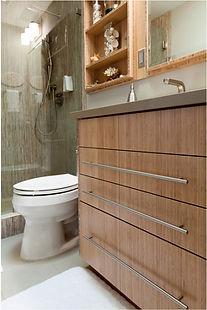 bamboo vanity, custom cabinet, quartz countertop, faucet