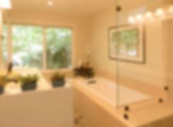 bathroom remodel, porcelain tile, shower glass, vanity, quartz