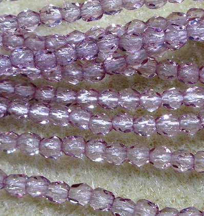 3mm Transparent Lilac Fire Polish, 50/Strand