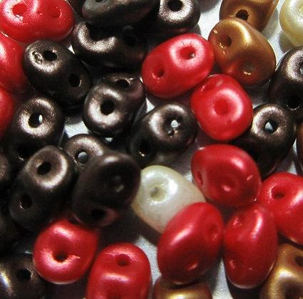 2.3x5mm SuperDuo Chocolate Covered Cherry Mix