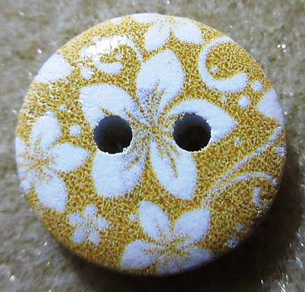 15mm Flower Button, Yellow Painted Wood, 2/Pkg.