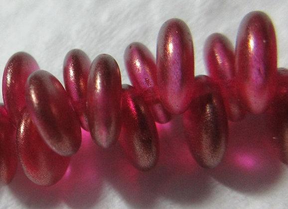 6mm Fuschia Gold Luster Lentil Beads
