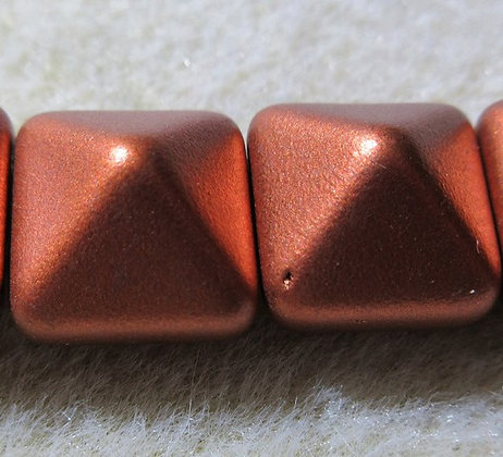 12mm 2-Hole Pyramid Matte Copper
