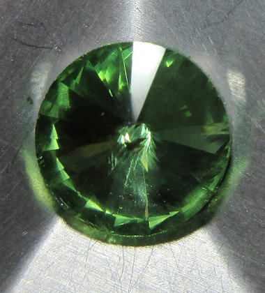 10mm Peridot Rivoli, Point Back, Foiled