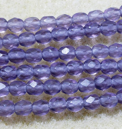 4-29 - 4mm Amethyst Matte Fire Polish, 50/Strand