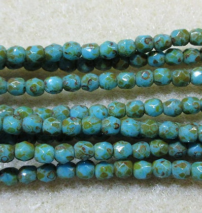 3mm Blue Turquoise Travertine Fire Polish, 50/Strand