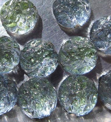 7mm 2-Hole Round Baroque Cabochon Backlit Uranium