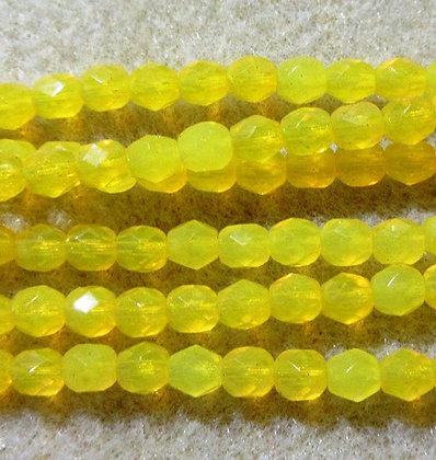 4-46 - 4mm Bright Yellow Opal Fire Polish, 50/Strand
