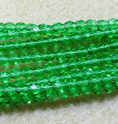 4-43 - 4mm Transparent Emerald Fire Polish, 100/Strand