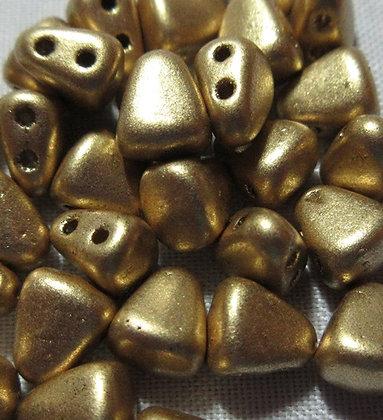 6x5mm 2-Hole Nibbit Matte Metallic Flax