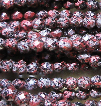 4-97 - 4mm Jet Metallic Silver/Red Fire Polish, 50/Strand