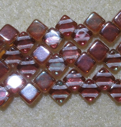6mm 2-Hole Silky, Transparent Copper RB Luster