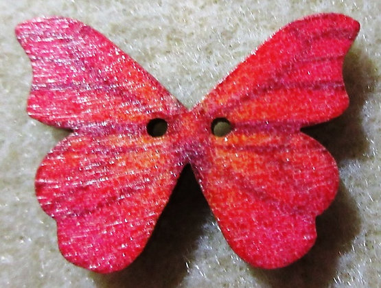 28x21mm Painted Wood Butterfly Button, 1/Pkg.
