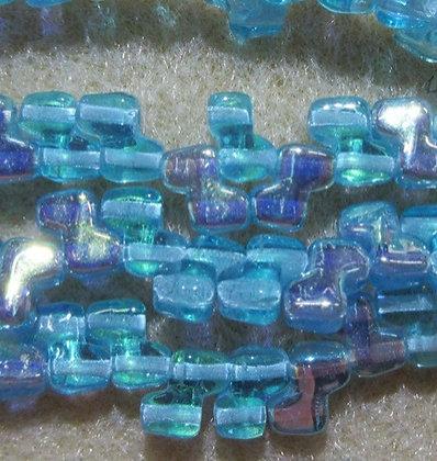 6mm 2-Hole Zorro, Transparent Turquoise AB, 15/Strand