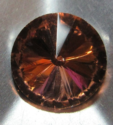 10mm Peach Rivoli, Point Back, Foiled