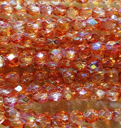 4-48 - 4mm Crystal Orange RB Fire Polish, 38/Strand