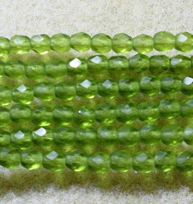 4-36 - 4mm Matte Transparent Olive Fire Polish, 50/Strand