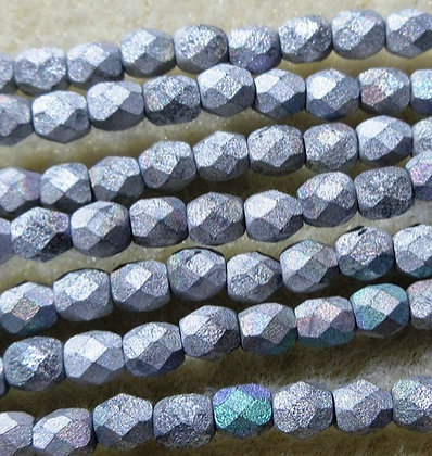 4-8 - 4mm Glittery Matte Silver AB Fire Polish, 40/Strand
