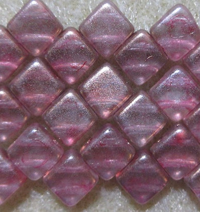 6mm 2-Hole Silky, Pink Bronze Luster, 20/Strand