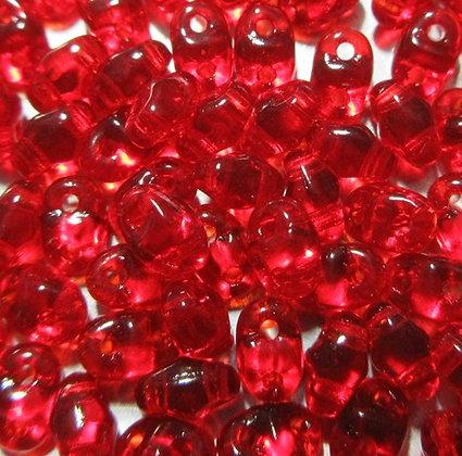 2x4mm 2-Hole MiniDuo, Transparent Ruby, 8 Grams