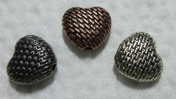 10mm x 9mm Metal Heart Bead