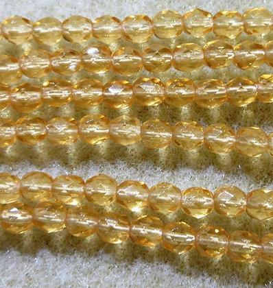4-56 - 4mm Transparent Amber FIre Polish, 100/Strand
