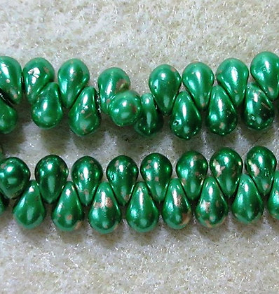 4x6mm Drop Lime Gold Dust, 25/Strand