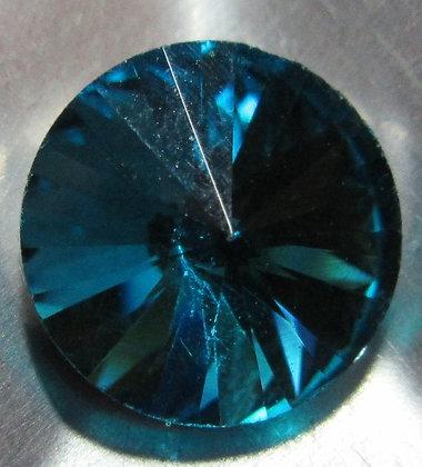 10mm Light Capri Blue Rivoli, Point Back, Foiled