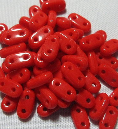 2x6mm 2-Hole Bar Opaque Red