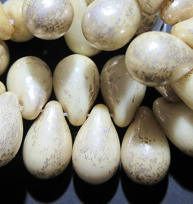 1401 6x9mm Yellow Ivory Mercury Finish Drop