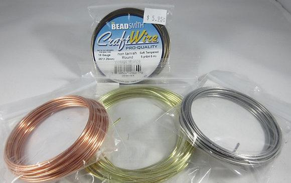 16 Gauge Round Soft Tempered Craft Wire - 5 Yards
