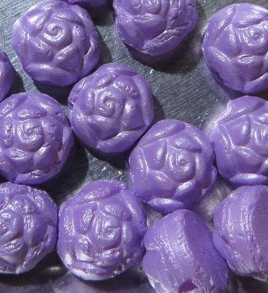 6mm 2-Hole Rosetta Cabochon Alabaster Pastel Violet