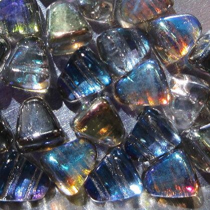 6x5mm 2-Hole Nibbit Crystal Graphite Rainbow