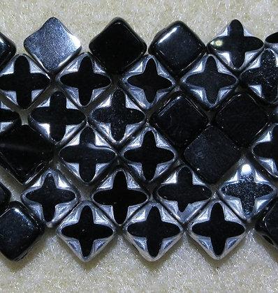 6mm 2-Hole Silky, Jet/Labrador Table Cut, 15/Strand