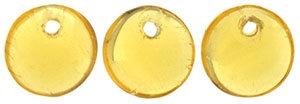 6mm Transparent Lt. Topaz Lentil Beads