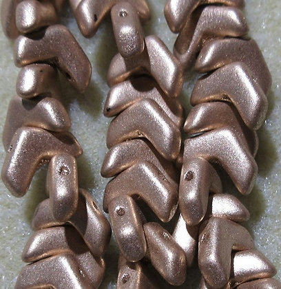 10x4mm 2-Hole Chevron Bronze Pale Gold