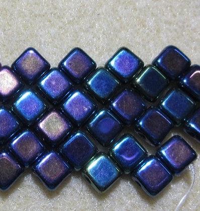 6mm 2-Hole Silky, Metallic Blue Iris, 20/Strand