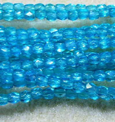 3mm Aqua Transparent AB Fire Polish, 50/Strand