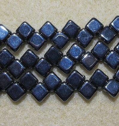 6mm 2-Hole Silky, Metallic Hematite, 20/Strand